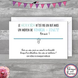 Carte de voeux Bravo + Bracelet porte bonheur Clef INOX