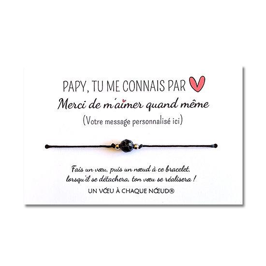 Carte à personnaliser Papy Merci de m'aimer + Bracelet Agate craquelée