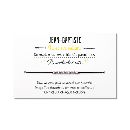 Carte à personnaliser Bon Rétablissement + Bracelet porte-bonheur Billes INOX