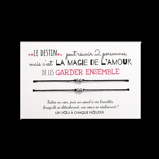 Carte de voeux La magie de l'amour + Duo de Bracelets 2 billes INOX