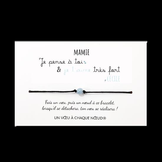 Carte à personnaliser Je pense à toi + Bracelet Aigue marine