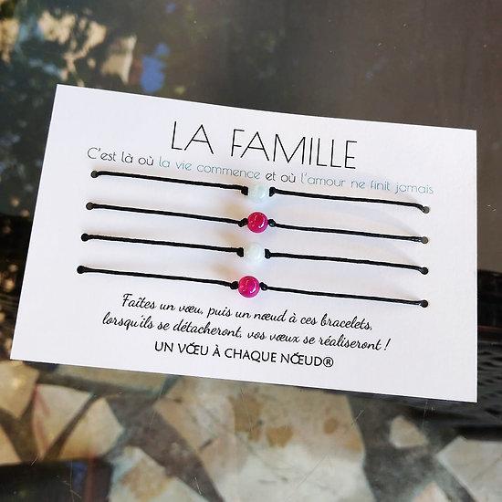 Carte personnalisée La Famille + 4 Bracelets