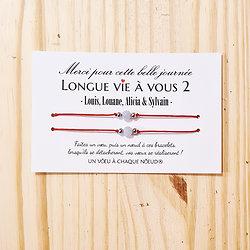 Carte personnalisée Longue vie à vous 2 + Duo de Bracelets