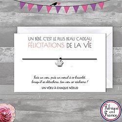 Carte de Félicitation Jeunes parents + Bracelet porte bonheur Main INOX