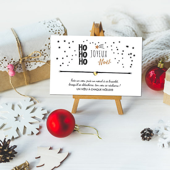Carte Hohoho Joyeux Noël et Bracelet porte bonheur