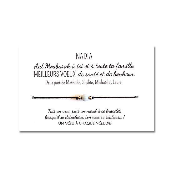 Carte personnalisée Aïd Moubarak + Bracelet Aigue marine