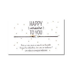 Carte Happy versaire to you + Bracelet pour faire un voeu Aigue marine