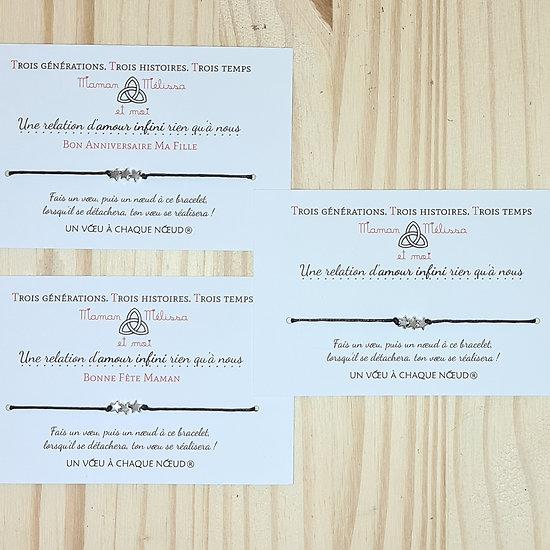 3 Cartes personnalisées Amour infini + Bracelets 1 coeur inox