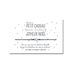 Carte Petit cadeau porte-bonheur pour Noël + Bracelet Aigue marine