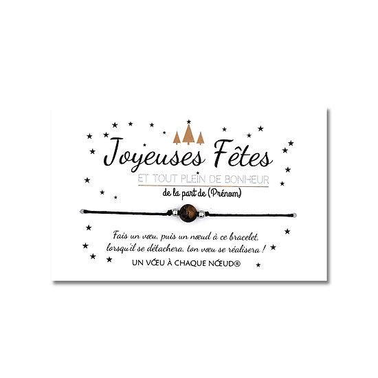 A personnaliser ! Carte Joyeuses Fêtes + Bracelet porte-bonheur au choix