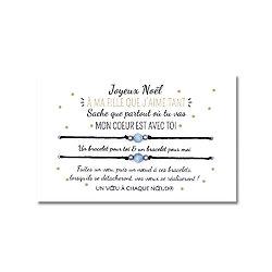 Carte de Noël pour ma fille ou mon fils + DUO de Bracelets porte-bonheur