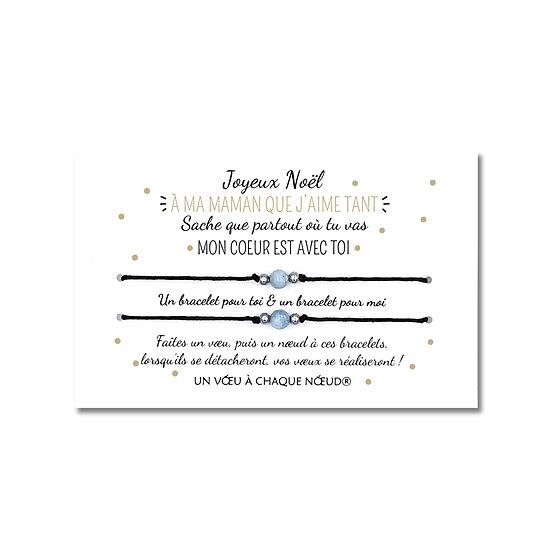 Carte de Noël pour maman ou papa + DUO de Bracelets porte-bonheur