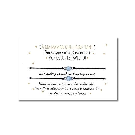Carte cadeau pour maman ou papa + Duo de Bracelets porte-bonheur