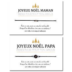 Duo de Cartes Joyeux Noël Papa et Maman + Bracelets porte-bonheur