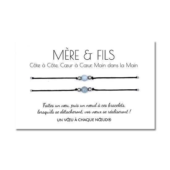 Carte de voeux Mère et Fils + Duo de Bracelets porte bonheur
