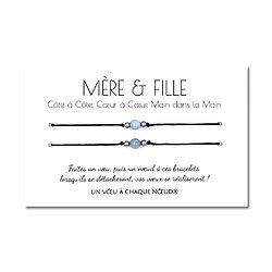 Carte de voeux Mère et Fille + Duo de Bracelets porte bonheur