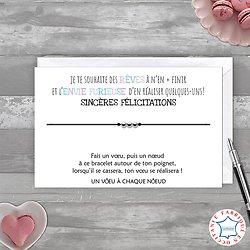Carte Sincères Félicitations Rêves + Bracelet porte bonheur 3 billes INOX