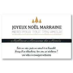 Bracelet en cuir avec Carte de Noël Maman Mamie Marraine