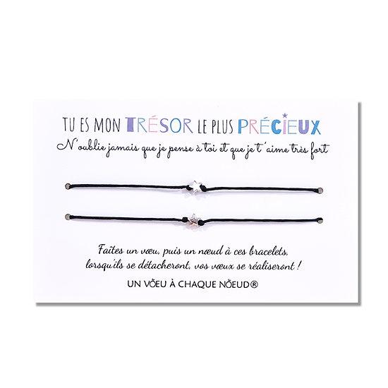Carte Tu es mon trésor le plus précieux + Bracelets pour papa, maman et enfant