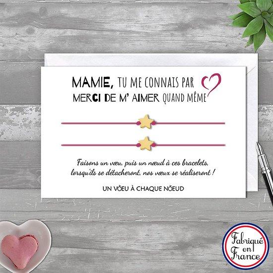 Carte Mamie Merci de m'aimer + Duo ou trio de Bracelets étoile en or 14k