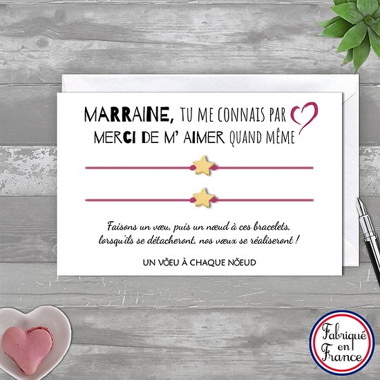Carte Marraine Merci de m'aimer + Duo de Bracelets étoile en or 14k