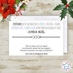 Carte Joyeux Noël Rêves + Bracelet à vœux 3 étoiles