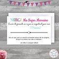 Carte de voeux personnalisé Merci Marraine + Bracelet porte bonheur Etoile