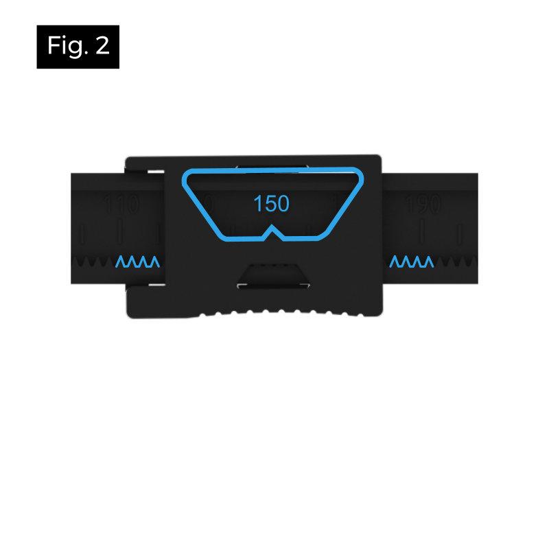 Le compas YBASE permet de tracer un gabarit pour une découpe de spot encastré de 50 à 290 mm